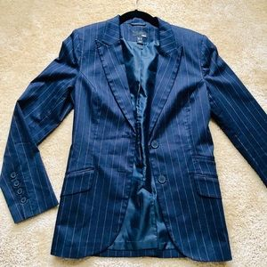 H&M Striped Navy Blue Blazer Jacket Womens 6
